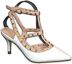 Damen Pumps Lack Nieten Stilettos Riemchen High Heels Schuhe ElegantHochzeit Party Größe 41, Farbe Weiss - http://on-line-kaufen.de/elara/41-eu-damen-pumps-lack-nieten-stilettos-riemchen-3