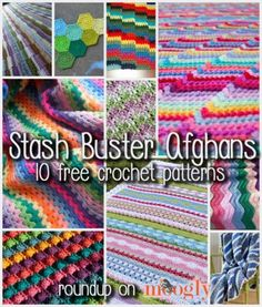 "Fun and Free Stash Buster Afghan Crochet Patterns! Time to ""Bust That Stash!"" 10 Free Stash Buster Afghan Crochet Patterns - roundup on Moogly!Time to ""Bust That Stash!"" 10 Free Stash Buster Afghan Crochet Patterns - roundup on Moogly! Crochet Home, Knit Or Crochet, Crochet Crafts, Scrap Yarn Crochet, Diy Crafts, Afghan Crochet Patterns, Crochet Stitches, Knitting Patterns, Fun Patterns"