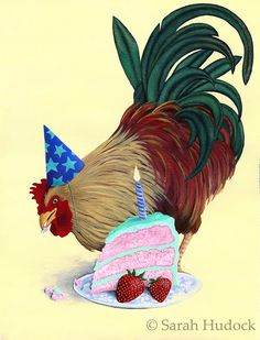 Strawberry Rooster © 2013 Sarah Hudock,  Lighthearted Art, all rights reserved. http://lightheartedart.com