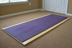 It's difficult to do yoga on carpet. It's much easier to do it with your mat on a firm surface like a wood or tile floor. Our Yoga room is carpeted, so I made this board/platform to act as a substitute floor. It's made of thick bamboo floori. Home Yoga Room, Yoga Studio Home, Yoga At Home, Meditation Room Decor, Meditation Space, Yoga Meditation, Home Gym Flooring, Diy Home Gym, Natural Flooring