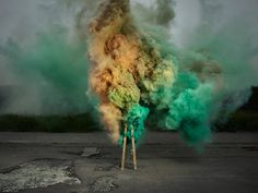 bursts of yellows, blues and pinks were captured to create the explosive series.