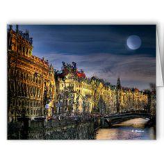 FULL MOON OVER PRAGUE, large greeting card