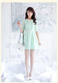 . Wood family of small fresh summer waist Slim doll collar fifth sleeve chiffon dress Girls sleeve bottoming skirt -- $25