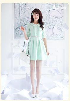 . Wood family of small fresh summer waist Slim doll collar fifth sleeve chiffon dress Girls sleeve bottoming skirt -- $25