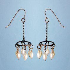 Chandelier Earrings: Randi Chervitz: Silver & Pearl Earrings - Artful Home