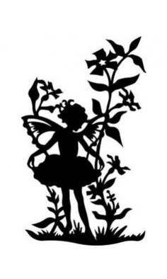 Fairy Girl in Flowers Silhouette