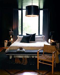 Nate Berkus & Jeremiah Brent. Harpers Bazaar Magazine. High gloss black painted bedroom, boho luxe.