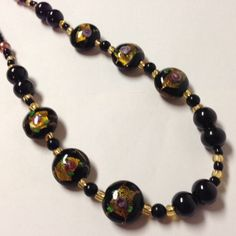 Black Lampwork Glass  Beaded Necklace by EclecticJewelers on Etsy, $20.99