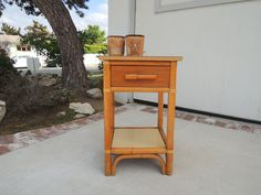 MID CENTURY MODERN Bamboo End Table or Nightstand by HouseCandyLA