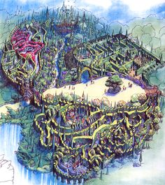 The Quest for the Unicorn was slated for construction in the ill-fated Beastlie Kingdomme at Disney's Animal Kingdom. Concept painting by Maggie Parr (© Walt Disney Imagineering