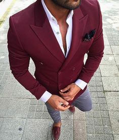 Great look red wine Men's fashion brought to you by Tom Maslanka