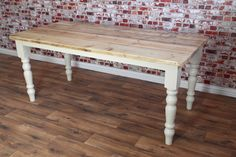 Scrub-Top Stripped Pine Reclaimed Wood Kitchen Dining Table Rustic Farmhouse Style