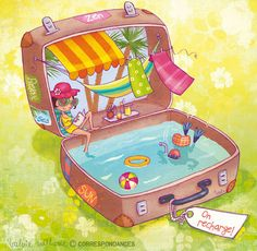 Watercolor by Valérie Willame. Beach in a suitcase!