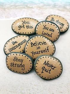 Pocket Rocks with Words of Encouragement, 7 Painted Stones for Military, Pocket Rocks for Kid. Pocket Rocks with Words of Encouragement, 7 Painted Stones for Military, Pocket Rocks for Kids Pebble Painting, Pebble Art, Stone Painting, Diy Painting, Painting Words, Rock Painting Ideas Easy, Rock Painting Designs, Painting Rocks For Garden, Ladybug Rock Painting