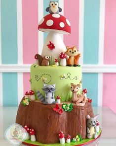 Enchanted Forest Theme Party, Cupcake Cakes, Cupcakes, Woodland Cake, Baby Boy Cakes, Forest Cake, Dream Cake, Cake Decorating Techniques, 1st Boy Birthday