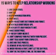 15 ways to keep a RELATIONSHIP working...