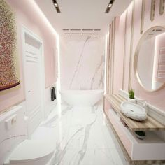 Pink bathroom with carrara marble and wooden details Rosa Badezimmer mit Carrara-Marmor und H Dream Bathrooms, Beautiful Bathrooms, Small Bathroom, Zebra Bathroom, Pink Bathrooms, Bathroom Niche, Rental Bathroom, Boho Bathroom, White Bathroom