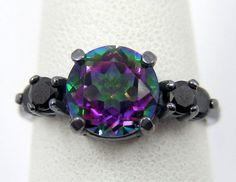 Gothic Wedding Rings 2Cts Mystic Rainbow by TwinFlamesBridal