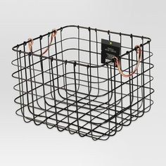 Small Milk Crate Wire Basket - Antique Pewter With Copper Colored Handles - Threshold™ : Target Decorative Storage Bins, Utensil Storage, Wire Storage, Storage Baskets, Storage Ideas, Storage Crates, Cabinet Storage, Toy Storage, Storage Containers