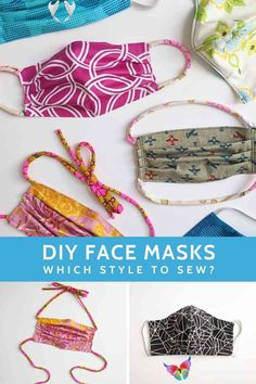 DIY face mask sewing pattern review: Which style to sew? DIY face masks sewing patterns. Which fabric face mask sewing pattern   will you choose to make? I made a bunch of different patterns and have   feedback to share about my experience with several popular mask   patterns. Includes sewing patterns for filter pocket masks, masks with   ties, masks with elastic, masks for kids. #face #mask #sewing #pattern<br> Not sure which fabric DIY face mask sewing pattern to try? Read this article to… Face Masks For Kids, Easy Face Masks, Homemade Face Masks, Diy Face Mask, Sewing Hacks, Sewing Tutorials, Sewing Crafts, Sewing Projects, Sewing Tips