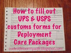To Army Wife: How to fill out UPS & USPS customs forms for Deployment Care PackagesFrom Cadet Life. To Army Wife: How to fill out UPS & USPS customs forms for Deployment Care Packages Soldier Care Packages, Deployment Care Packages, Deployment Gifts, Military Deployment, Soldier Care Package Ideas, Military Spouse, Military Care Packages, Deployment Letters, National Guard Deployment