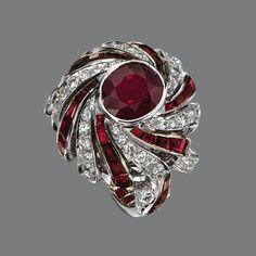RUBY AND DIAMOND RING, STERLÉ, PARIS, CIRCA 1950