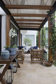 Patios must show charm as well as coziness. Roof design for patios is on… House Design, Outdoor Rooms, Terrace Design, House Exterior, Exterior Design, Pergola Designs, Outdoor Design