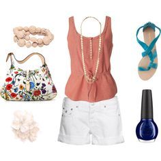 Summer outfit idea! obsessed with white shorts