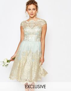 Morning mist/goldChi Chi London Premium Metallic Lace Midi Prom Dress with Bardot Neck