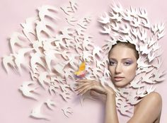 Illustrator Stuart McLachlan has created unique paper sculptures for the editorial spreads of Vogue, Karen, and other magazines.