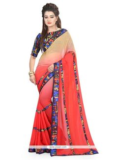 Eye-catchy Georgette Red Patch Border Work Printed Saree Model: YOSAR8821