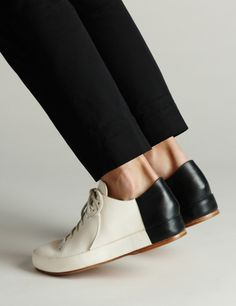 Handmade bicolor leather shoes by Brooklyn based Feit. ty, the girl with the curl. via honestly, wtf