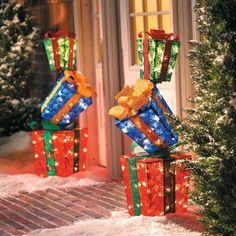 Set of 2 Lighted Stacked Gift Boxes Presents Indoor Outdoor Christmas Yard Decor Outdoor Christmas Presents, Christmas Present Decoration, Gingerbread Christmas Decor, Outside Christmas Decorations, Decoration Table, Christmas Lights, Christmas Holidays, Christmas Crafts, Christmas Ornaments