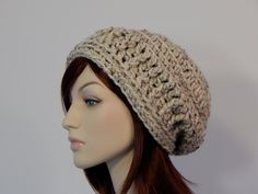 Oatmeal Neutral Slouch Hat, Cream Wool Blend Slouchy, Womens Hat, Ladies Hat, Boho Chic, Winter Hat, Baggy Slouch, MarlowsGiftCottage by MarlowsGiftCottage on Etsy