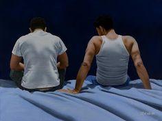 """Bedtime Story"", Steve Walker, acrylic on canvas x cm. Walker Art, Gay Art, Bedtime Stories, Erotic, Tank Man, Original Paintings, Canvas, Illustration, Artwork"