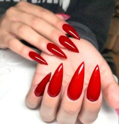 Today, i will share with you best Red Stiletto Nail Arts Red Stiletto Nail Arts Related posts: Best stiletto nail art designs Nail art wedding designs 2019 simple Game of Thrones Nail Arts 2019 Summer Fruit Acrylic Nail Arts Red Nail Art, Red Acrylic Nails, Matte Nails, Acrylic Nail Designs, Red Art, Polish Nails, Acrylic Colors, Red Stiletto Nails, Red Manicure