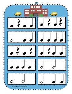 New FREEBIE on TPT - Back to School Rhythm Game. First person to clap all of their rhythms correctly and reach the school wins! This would be a great activity for those first lessons of the year. Elementary Choir, Elementary Music Lessons, Music Education Games, Music Games, School Songs, Music School, Preschool Music Activities, Piano Lessons For Kids, Music Lesson Plans