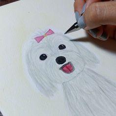 Aquarela da Nina, cadelinha super fofa saindo 💕🐕🎀 ⚪ ⚪ ⚪ #watercolour #watercolor #aquarelle #aquarela #ilustración #ilustração #illustration #draw #sketch #paint #desenho #dibujo #desenhando #nina #dog #doglovers #love #amor #cachorro #doguinho #aquarelinhas #bichinho
