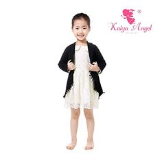 Kaiya Angel Kid Baby Girl's Cardigan Fashion Black Cotton Coat Spring Fall Wrap 2-9 Years (130/5-6Year) -- Check this awesome image @ http://www.amazon.com/gp/product/B01LPOYYQA/?tag=christmas3638-20&prw=260916163451