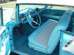 Tropical Turquoise 1956 Chevy Bel Air 2-Door Hardtop interior 1956 Chevy Truck, 1956 Chevy Bel Air, Chevrolet Bel Air, Chevy Trucks, Vintage Cars, Antique Cars, Truck Interior, Dashboards, Old Trucks