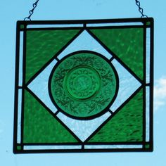 """Green"" Vintage Glass Plate Suncatcher - (9"" X 9"")"
