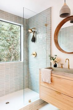 Bathroom Renos, Wood Bathroom, Master Bathroom, Remodel Bathroom, Natural Bathroom, Tiled Walls In Bathroom, Wall Tiles, Washroom Tiles, Mint Bathroom