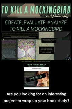 TO KILL A MOCKINGBIRD GOOGLE SLIDES ASSIGNMENT Are you looking for an interesting project to wrap up your book study? This assignment will test your students' writing and editing skills, but also reveal their ability to analyze the more nuanced and symbolic passages from TO KILL A MOCKINGBIRD. This assignment is perfect as an engaging and creative, culminating activity! Students participate in the top three levels of Bloom's Taxonomy: create, evaluate, and analyze. CLICK TO SEE MORE Ap Language, English Language Arts, Ap Literature, Ap English, Editing Skills, To Kill A Mockingbird, High School English, Book Study, School Resources