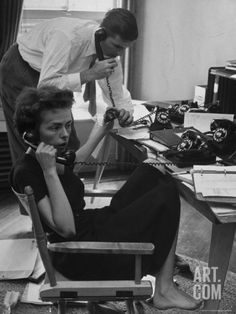 Ford Modeling Agency Co-Owners Gerard Ford and His Wife Eileen Manning 4 Telephones Premium Photographic Print by Nina Leen at Art.com