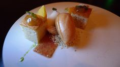 financier, almond milk, fig, peach sorbet, shiso   Flickr - Photo Sharing!
