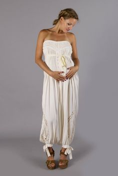 """""""Zippora Jumpsuit"""" maternity bandeau jumpsuit - Cream Fillyboo - Boho inspired maternity clothes online, maternity dresses, maternity tops and maternity jeans."""