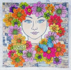 My peek a boo wall art with Stampendous image peeking into a secret garden surrounded by Crafty Individuals flowers. Brick wall effect created with Kaisercraft vintage fence stamp.