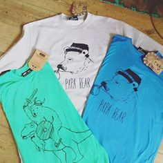 A collection of Don't Feed the Bears tshirts - Bird's Yard is the only bricks and mortar shop in Sheffield where you can buy them!