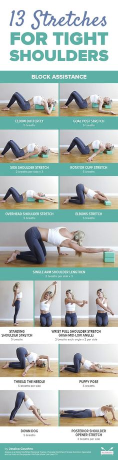Here are 13 of my favorite that you can use to create length, relief, and increased mobility in the shoulders. Here are 13 of my favorite shoulder stretches that you can use to create length, relief, and increased mobility in the shoulders. Fitness Workouts, Yoga Fitness, Fitness Tips, Health Fitness, Easy Fitness, Fitness Weightloss, Wellness Fitness, Yoga Bewegungen, Yoga Meditation