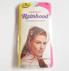 Rain Bonnet Hat Rainhood Retro 1970s Fashion by WildPlumTree Bonnet Hat c412f90ca17